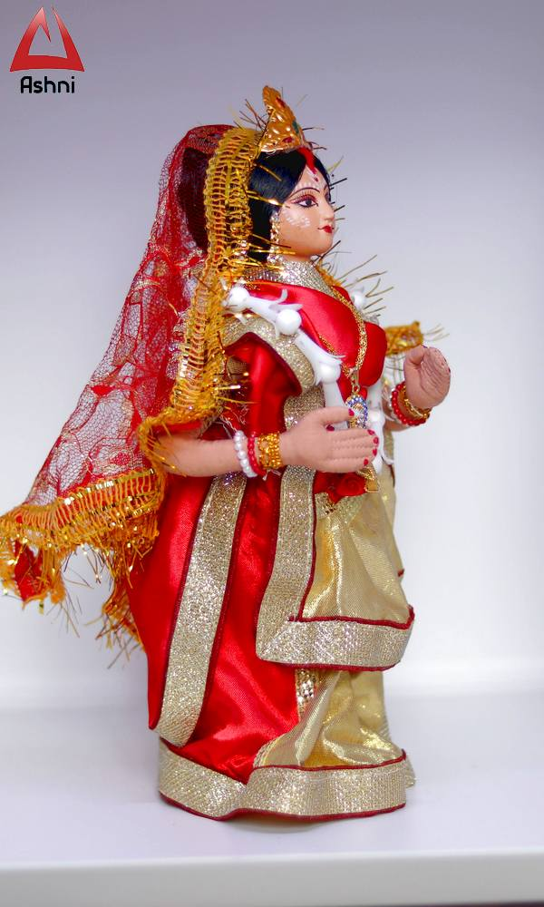 Bengali Decorated Doll Bride in Red Saree